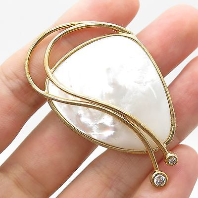 925 Sterling Silver Gold Plated Large Mother-Of-Pearl Pin Brooch Pendant