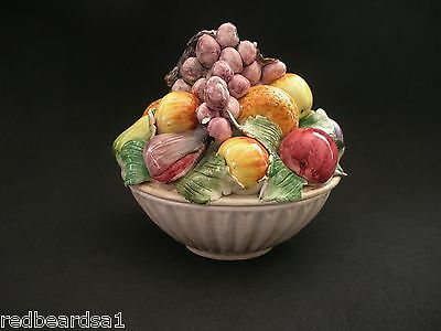Capodimonte Lidded Porcelain Bowl Decorative Summer Fruits Italy A/F