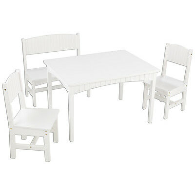 Nantucket Table with Bench and Chairs, White - 26110