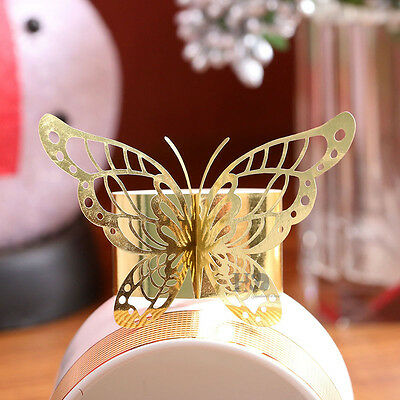 Set Of 60PCS Wedding Table Decoration Butterfly Paper Napkin Ring Golden