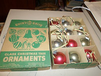 12 Vintage Shiny Bright Old Christmas Ornaments Glass Original Box red & silver