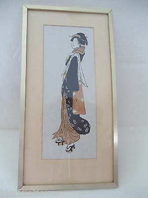 Vintage Japanese Hand Painted Watercolour Cut Out Picture A Geisha Glazed Framed