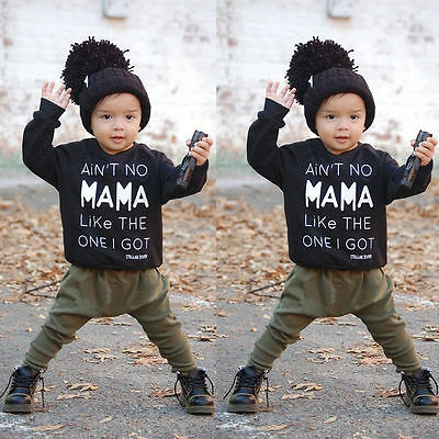 Newborn Toddler Baby Boy Warm Clothes Tops T-shirt+Long Pants 2PCS Set Outfits