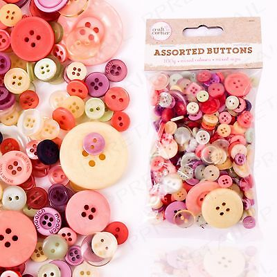 COLOURED BUTTONS Random Mix Craft Scrapbook Sewing Card Making Decoration 100g