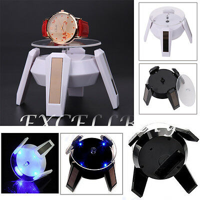 Solar Powered 360 Degree Jewelry Rotating Display Stand Turn Table LED Light