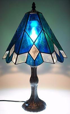 Handmade Blue Tone Stained Glass Lampshade for Pendant or Lampshade Use MJ3
