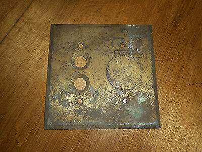 Vintage Metal Brass Push Button Switch Plate Cover w Lift Up Cover
