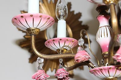 A Pretty Vintage Porcelain Rose & Brass Chandelier Ceiling Light French Spanish