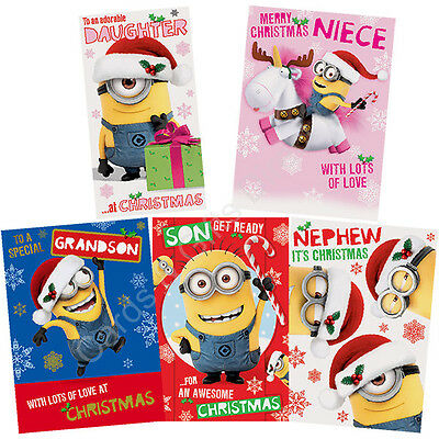 aa2a77d8c0ef8 DESPICABLE ME MINIONS Christmas Card Son Daughter Nephew Grandson - £2.90