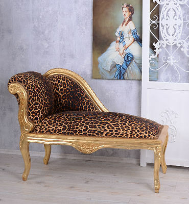CANAPE RECAMIERE leopard GOLD BAROQUE SOFA PALACE STOOL