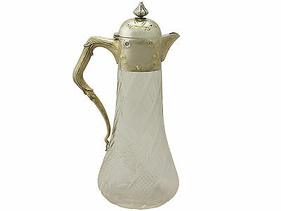 Antique German Cut Glass and Silver Mounted Claret Jug, Circa 1890