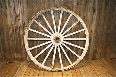 HUGE Vintage WAGON WHEEL white wood industrial farm decor rustic cart GARDEN ART