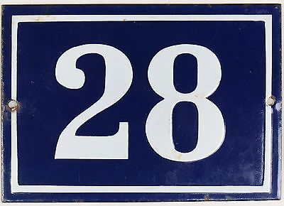 Large old blue French house number 28 door gate plate plaque enamel metal sign