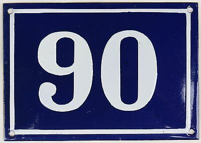 Large old blue French house number 90 door gate plate plaque enamel metal sign