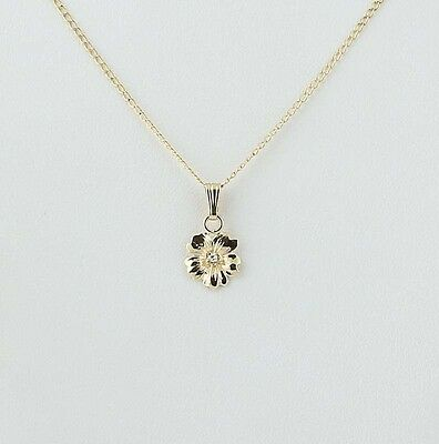 "Flower Pendant Necklace 18"" - 14k Yellow Gold Diamond Accent .01ct"
