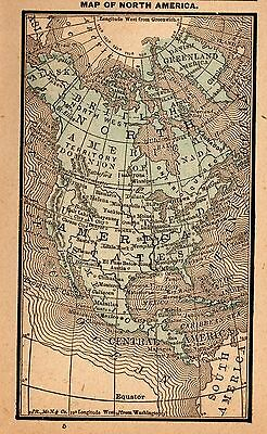 1885 Antique NORTH AMERICA Map Gallery Wall Art RARE MINIATURE 3256