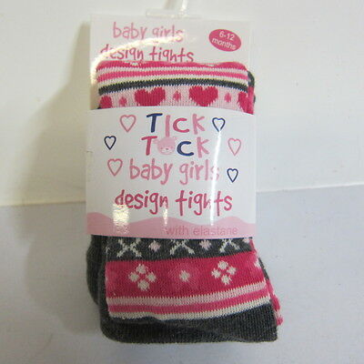 Baby Girls Tick Tock Cotton Rich Knit Tights Grey/pink -45B055