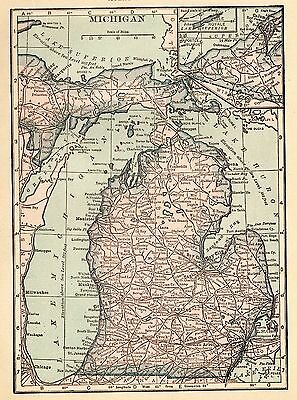Antique MICHIGAN Map 1917 Small Map of Michigan Gallery Wall Art  smap 3265