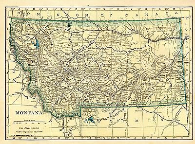 Small Antique MONTANA Map 1910 Map of Montana Gallery Wall Art  smap 3268