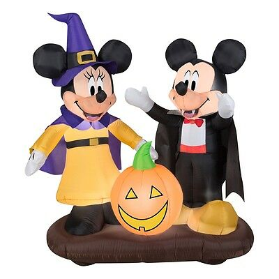 Mickey and Minnie Mouse w Jack-O-Lantern Halloween Inflatable Airblown Disney