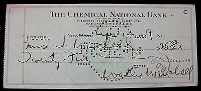 Walter Winchell Signed Cancelled Check 1929 Radio Broadcaster