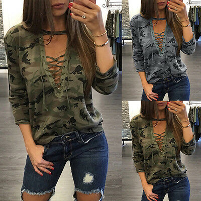 Fashion Womens Casual Camouflage Sleeve Tops Shirt Ladies Loose T-shirt Blouse Y