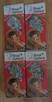 4 boxes vtge TINSEL garland Unused eat 25 ft long 1968 Paper Novelty Co silver
