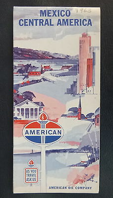 1963 Mexico Central America road  map American  oil gas Panama