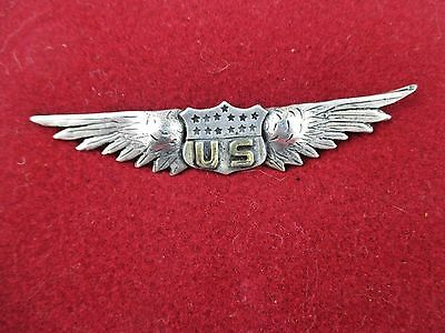 "WW1 WWI US Army Air Service Aviator Pilot Wing ""Pin Lebreve Paris Sterling 3 1/8"