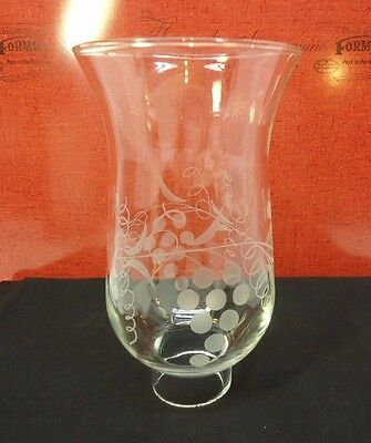 "Acid Etched Glass Chandelier Sconce Lamp Shade Globe 6 1/2"" Tall Vintage"