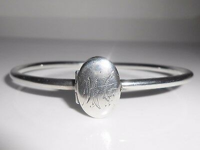 Vintage Sterling Locket Bangle Bracelet With Mono