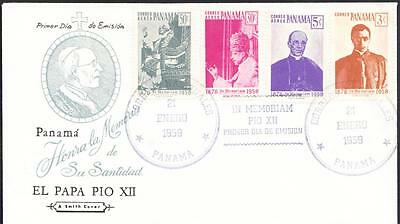 1959 Panama FDC Papal Cover POPE PIUS XII Memoriam Cover (H24)