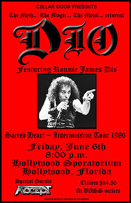 "Dio ""sacred Heart~Intermission Tour 1986"" Hollywood, Florida Concert Poster"