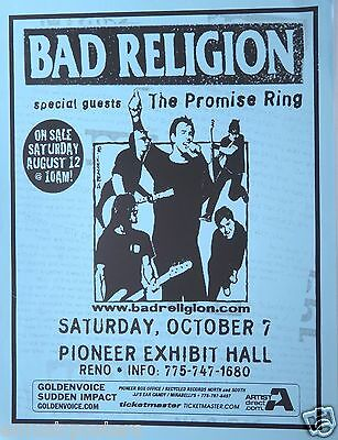 BAD RELIGION /PROMISE RING 2000 RENO, NEVADA CONCERT TOUR POSTER-Punk Rock Music