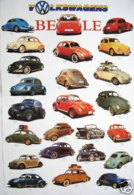 """Autos """"collage Of Different Volkswagen Beetles"""" Asian Poster - 24 Vw Models!"""
