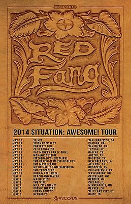 """RED FANG """"2014 SITUATION: AWESOME! TOUR"""" CONCERT POSTER - Band Logo & Tour Dates"""