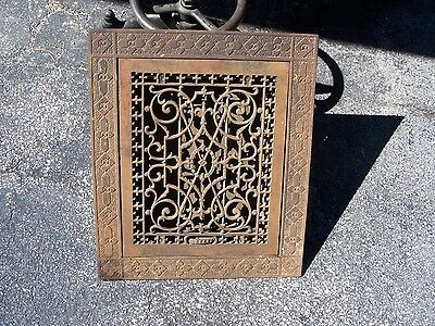 Large VICTORIAN Vtg Cast Iron Floor Grille ORNATE Heat Grate return with border