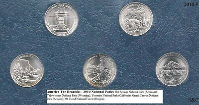 2010 P National Park Quarters 5 quarters set Uncirculated from Bank Wrapped Roll