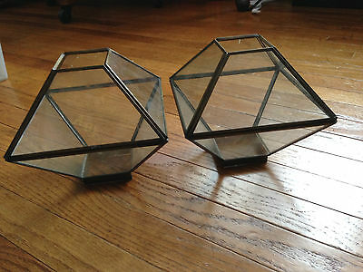 2 Vintage Hexagon Shaped Clear Glass Light Fixture Covers
