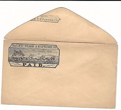 B334 USA  Pacific Stage express stationery local private wild west 1850? Antique