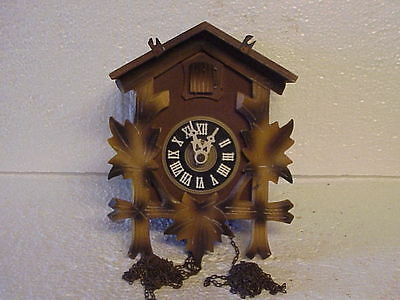 Vintage German One Day Two Tone Cuckoo Clock for Restoration parts repair Q