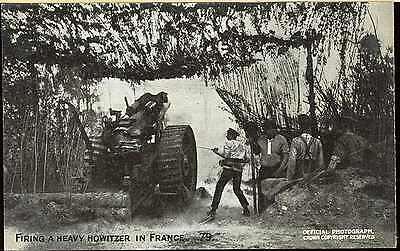 Ww1 British French Army Picture Post Card Artillery Firing Howitzer In France