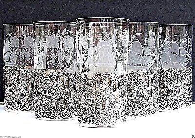"""*set Of 6 Antique""""scenic""""repousse Sterling Silver&crystal Cocktail~Water Glasses"""