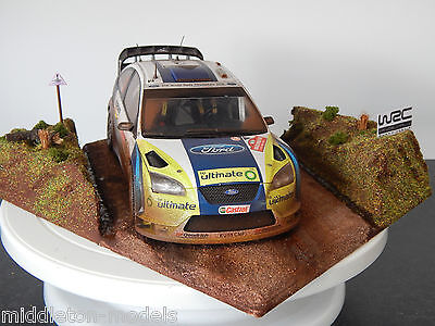 1/18 Ford Focus Rs Wrc Rally Car & Scene Diorama Rally Wales 2006 Gronholm
