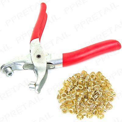 EYELET FABRIC PUNCH PLIERS Leather Canvas Hole Puncher Tool +100 Brass Rings Set