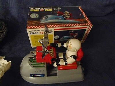 Blech SPACE TV PILOT Battery Operated Asakusa 60er Jahre Made In Japan #9#