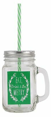 Retro Tennessee Glass Handled Christmas Drinking Jar With Lid And Straw ~ Green