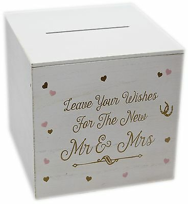 Shabby Chic Distressed White Wooden Wedding Wishes Post Box For Bride And Groom
