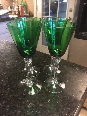 Set Of 4 Forest Green Water Goblets