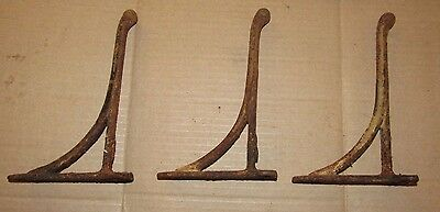 Lot of 3 COAT HOOKS heavy duty old antique farm house vintage 1880's cast iron